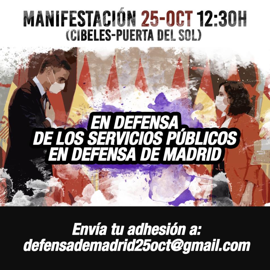 25 de octubre: Manifestación «en defensa de los servicios públicos, en defensa de Madrid»