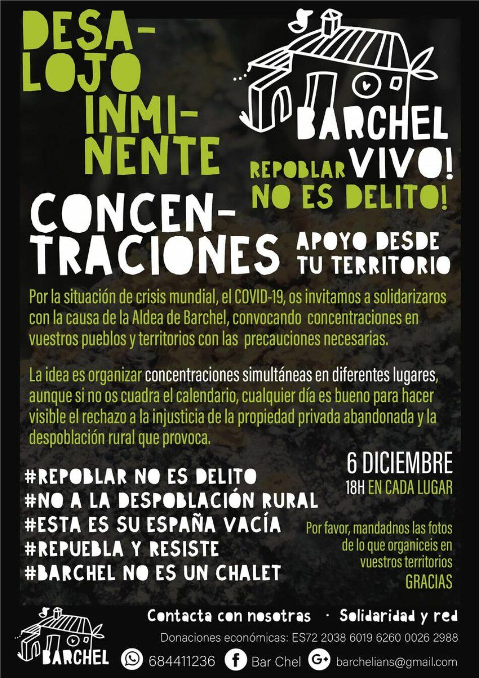 Ante el inminente desalojo, la Aldea de Barchel convoca movilizaciones de apoyo simultáneas el 6 de diciembre