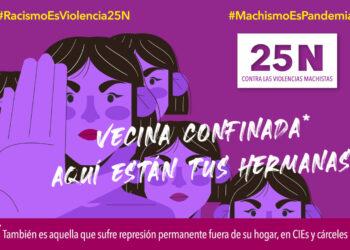 """Las Asambleas 8M de barrios y pueblos de Madrid salen a la calle el 25N bajo el lema """"Vecina confinada, aquí están tus hermanas"""""""
