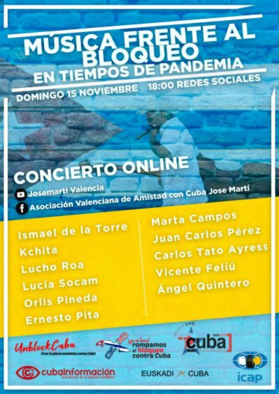 Música frente al bloqueo en tiempos de pandemia: concierto on line despedirá campaña «100 voces contra el bloqueo», 15 de noviembre