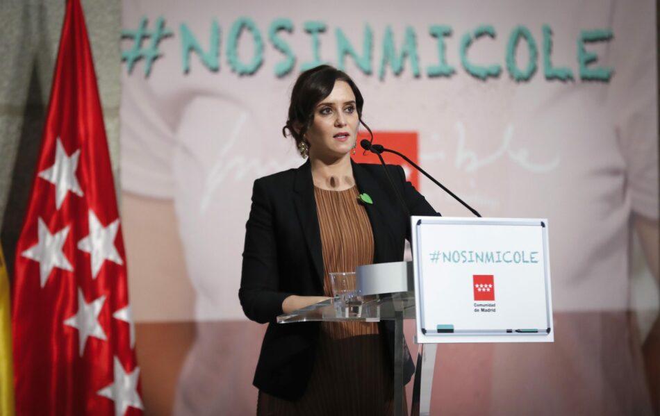 IU Madrid denuncia la campaña #NoSinMiCole de la Comunidad de Madrid contra la nueva ley educativa