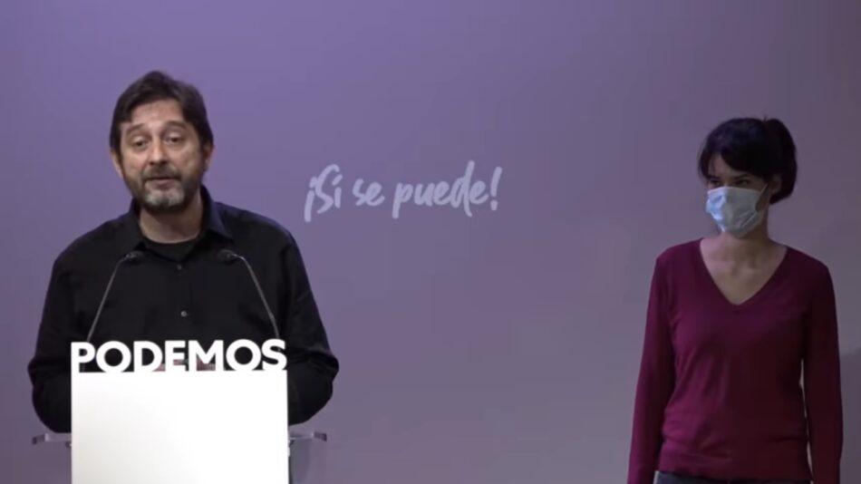 Podemos reclama al PSOE más medidas para prohibir desahucios y cortes de suministros básicos
