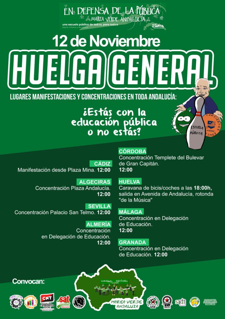 La comunidad educativa andaluza, llamada a la huelga general del sector el 12 de noviembre