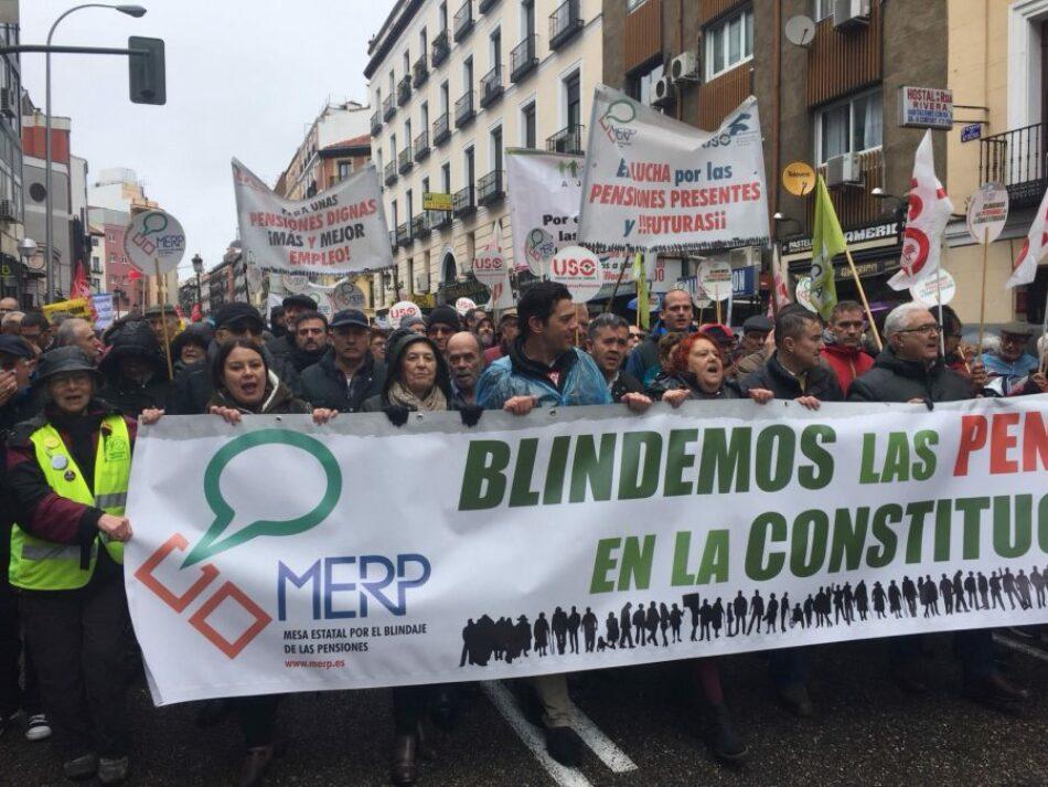 La MERP aplaude el compromiso del  Pacto de Toledo con las pensiones públicas
