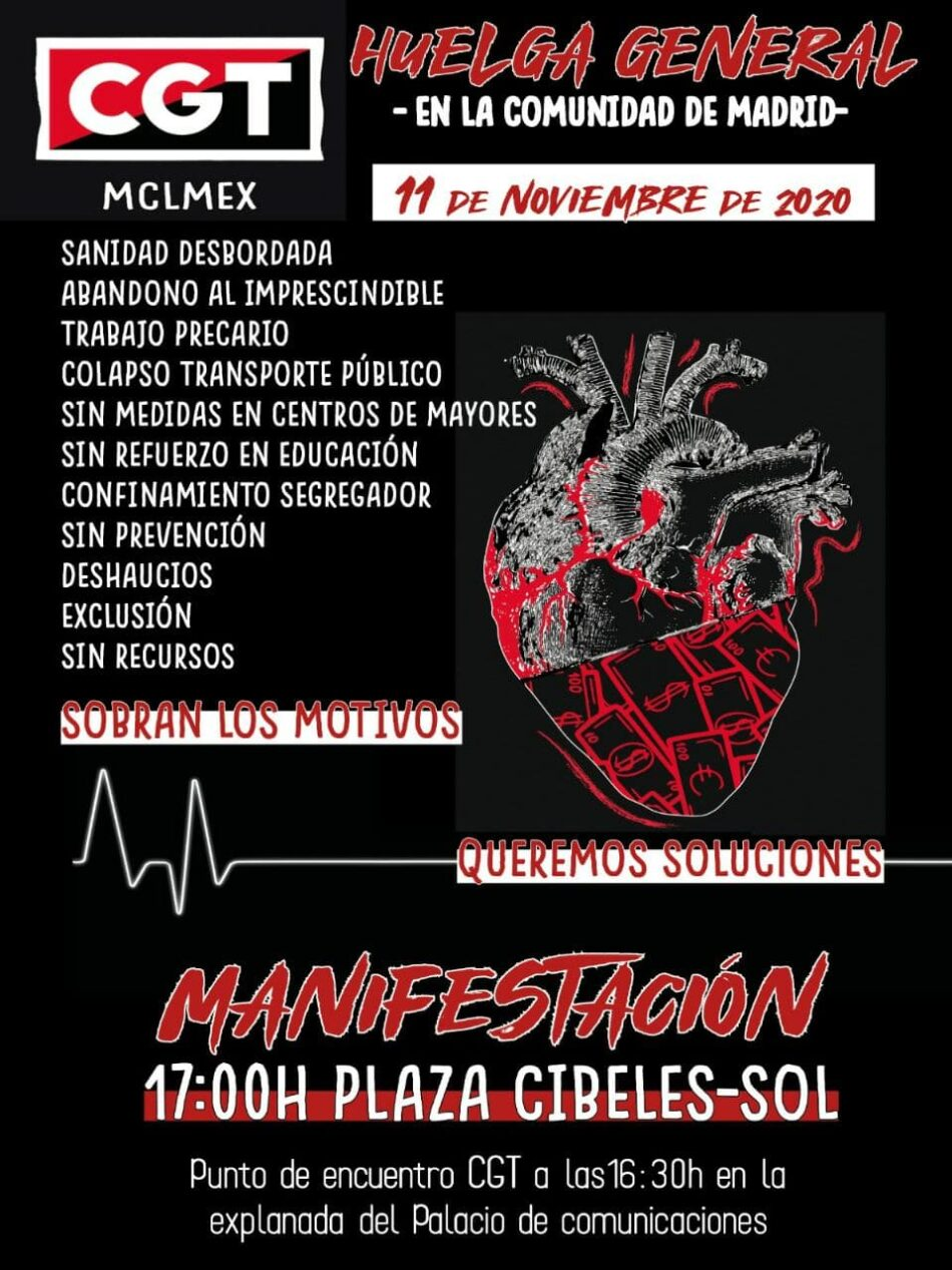 11 de noviembre: Huelga General y manifestación en la Comunidad de Madrid contra las desigualdades sociales y materiales