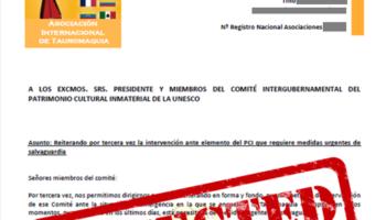La UNESCO rechaza la candidatura taurina a salvaguarda como Patrimonio Cultural Intangible de la Humanidad