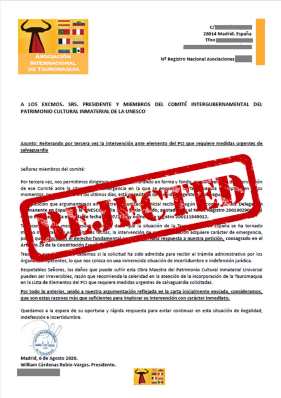 LTNEC: «La UNESCO rechaza la candidatura taurina a salvaguarda como Patrimonio Cultural Intangible de la Humanidad»