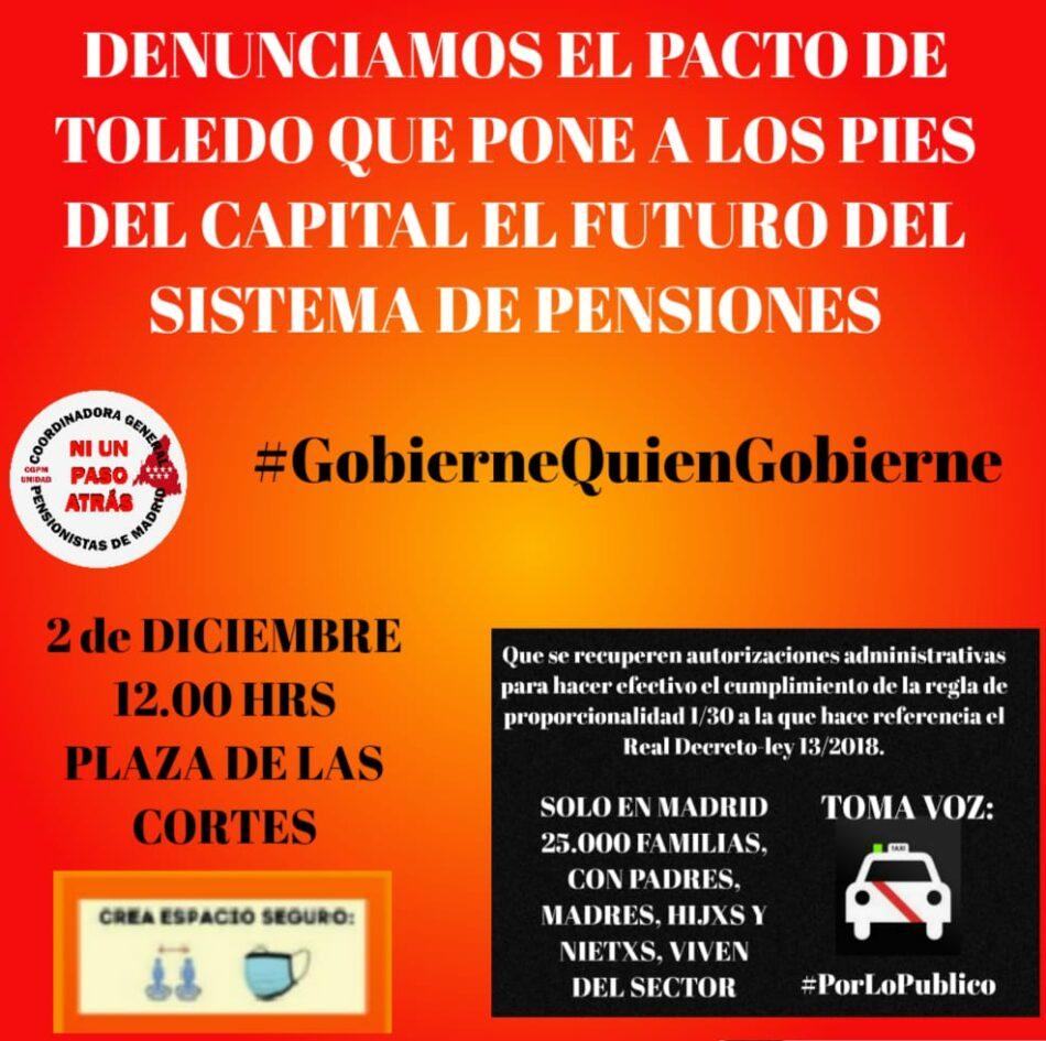 La Coordinadora General de Pensionistas de Madrid convoca concentración ante el Congreso de los diputados el 2 de diciembre