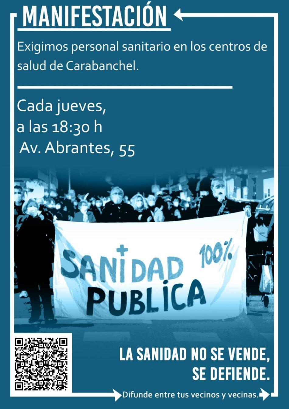 Manifestación contra el cierre del centro de salud Abrantes en Carabanchel