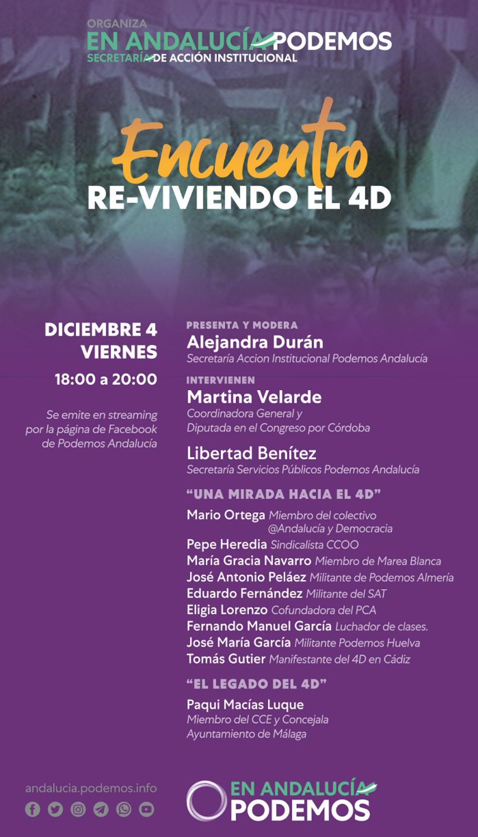 Podemos Andalucía homenajea al pueblo andaluz en un encuentro para recordar y revivir el 4D