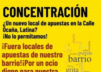 Tercera concentración vecinal contra la apertura de un nuevo local de apuestas en la calle Ocaña (Madrid)
