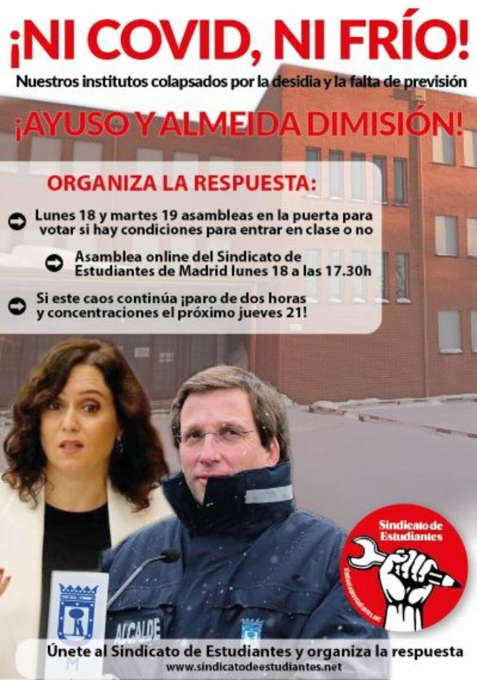 Madrid: institutos colapsados por la desidia y la falta de previsión. Lunes 18 y martes 19 asambleas en los centros para votar si hay condiciones para entrar en clase o no