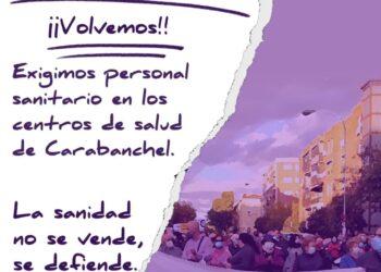 Manifestación en defensa  del Centro de Salud de Abrantes (Carabanchel, Madrid)