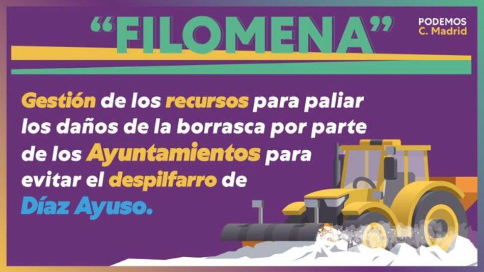 Podemos pide que los recursos para paliar los daños de la borrasca los gestionen los Ayuntamientos para evitar el despilfarro de Ayuso