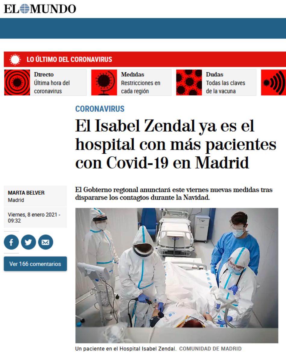 La Asociación Madrileña de Enfermería desmiente a la Comunidad de Madrid: el Zendal no es el hospital madrileño con más pacientes Covid