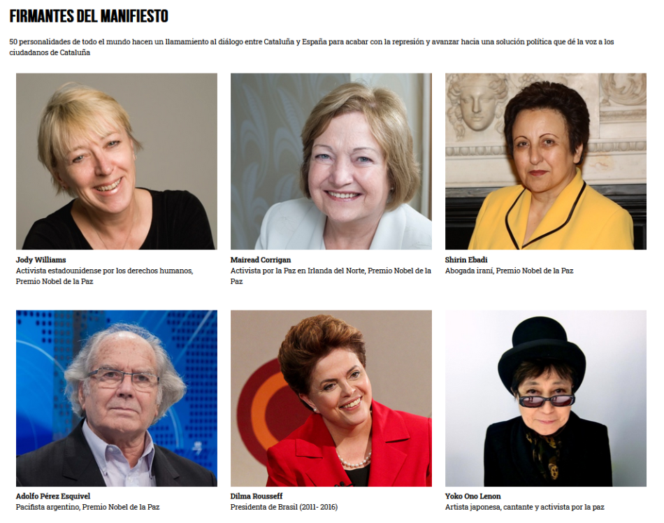 Personalidades internacionales reclaman la amnistía por el 1-O en el manifiesto «Dialogue for Catalonia»