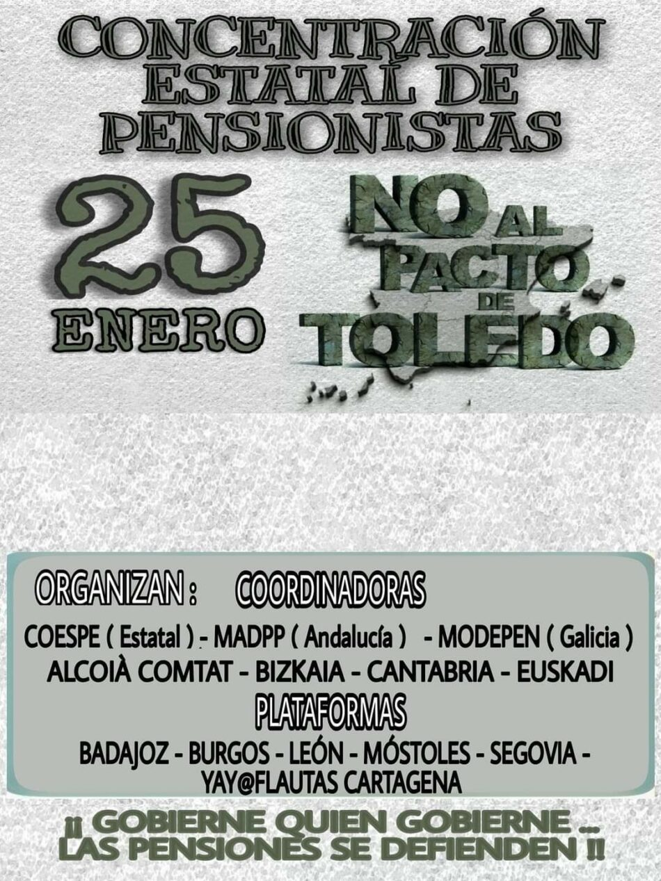 Manifiesto conjunto de los movimientos sociales de pensionistas en defensa del sistema público de pensiones