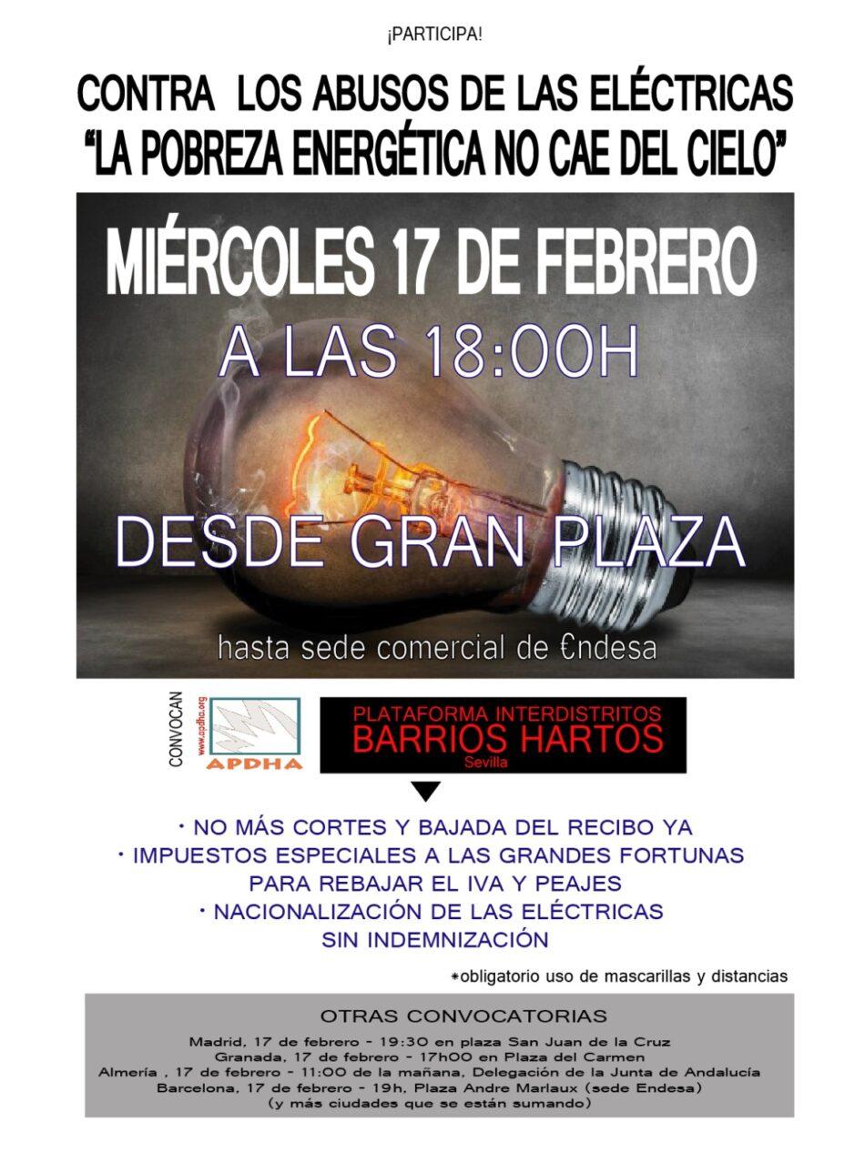 Barrios Hartos y APDHA Sevilla llama a la manifestación contra los abusos de las eléctricas