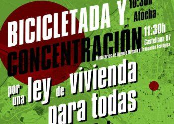 Bicicletada por el derecho a vivienda este domingo en Madrid