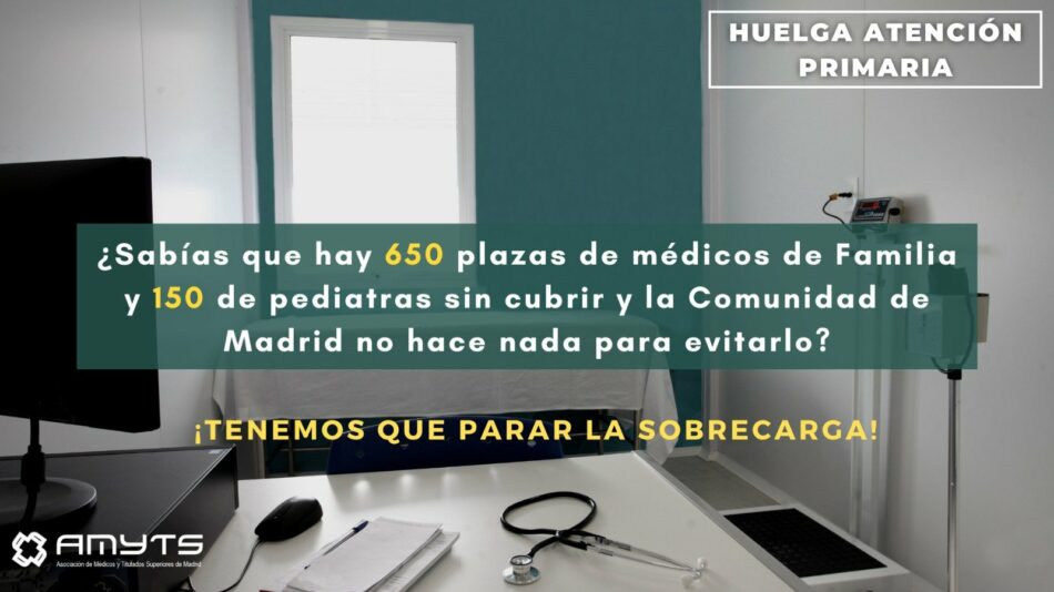 Asociación de Médicos y Titulados Superiores de Madrid vuelve a convocar huelga indefinida en la Atención Primaria ante el abandono de la Comunidad