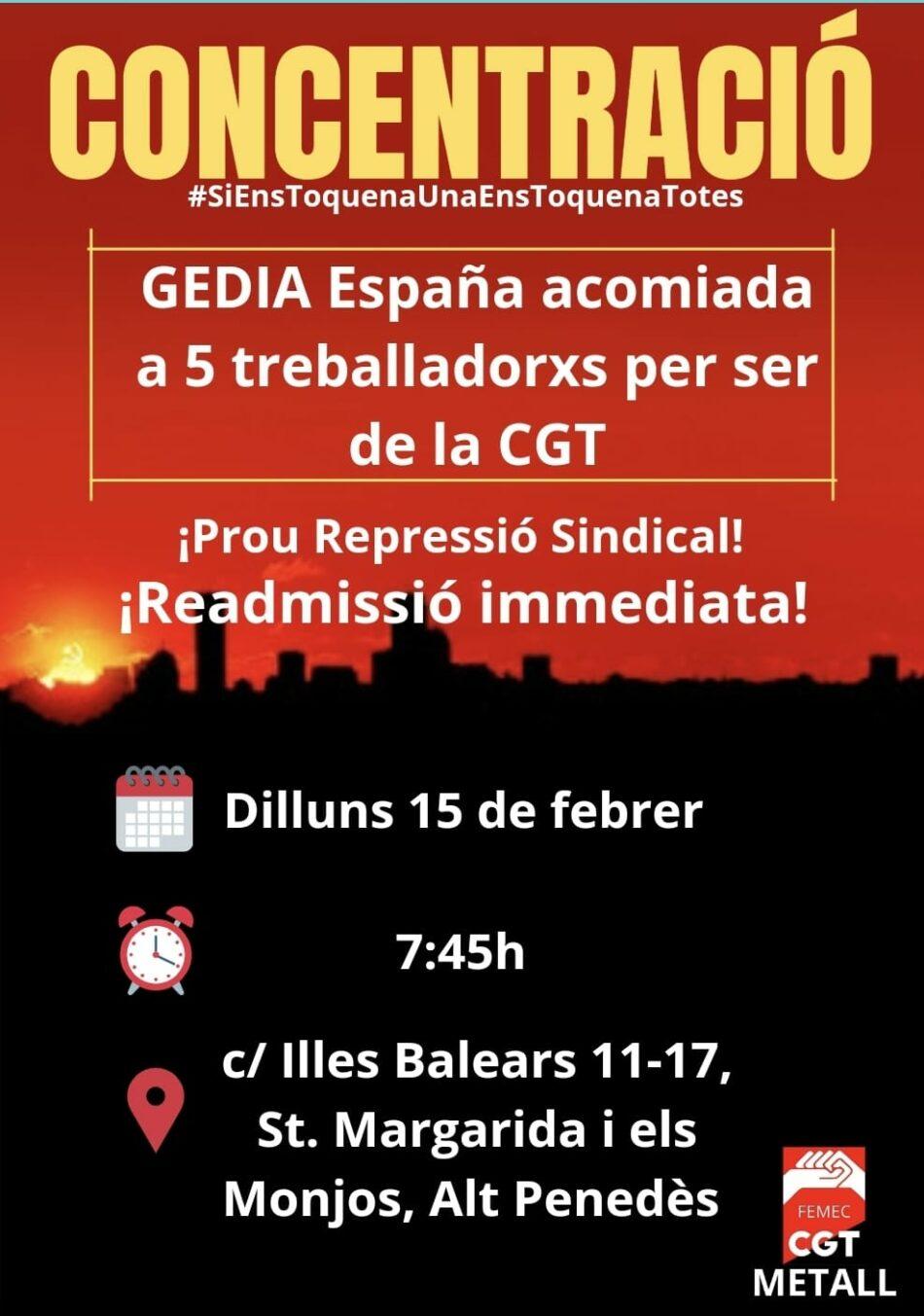 Concentración contra los despidos en GEDIA España S.L.