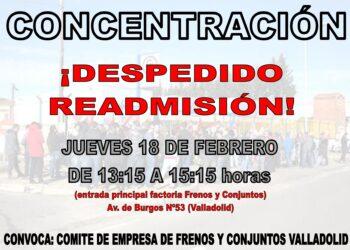 El Comité de Empresa de Frenos y Conjuntos convoca una concentración contra el despido de un trabajador