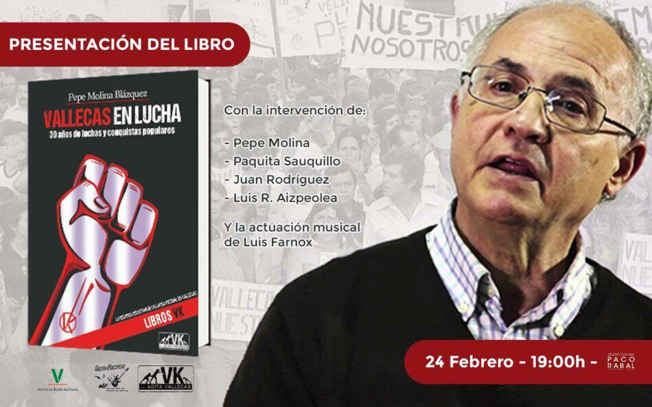 30 años de conquistas vecinales en Vallecas: presentación del libro del histórico dirigente vecinal Pepe Molina