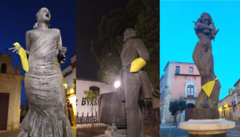 Estatuas emblemáticas de Jerez se visten para el 8M