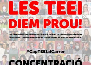 «Les Teei continuem amb la lluita!». Concentració: dimarts 30M 10h al Departament d'Educació (Bcn)