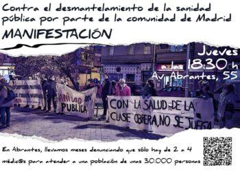 Nueva manifestación en Carabanchel en defensa de la sanidad pública y contra los recortes de personal en el conjunto de ambulatorios del barrio