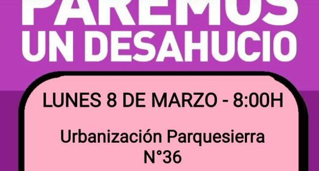 El 8 de marzo Madrid se tiñe de morado y en Collado y Villalba se pretende desahuciar a una mujer con dos menores de 4 y 8 años sin alternativa habitacional