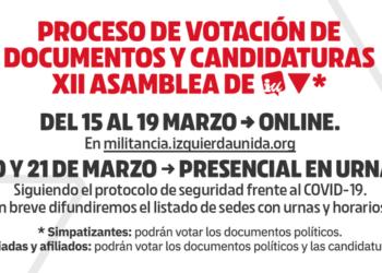 Izquierda Unida abre desde hoy y hasta el próximo día 21 el proceso de votación de los documentos y las candidaturas de cara a su XII Asamblea Federal