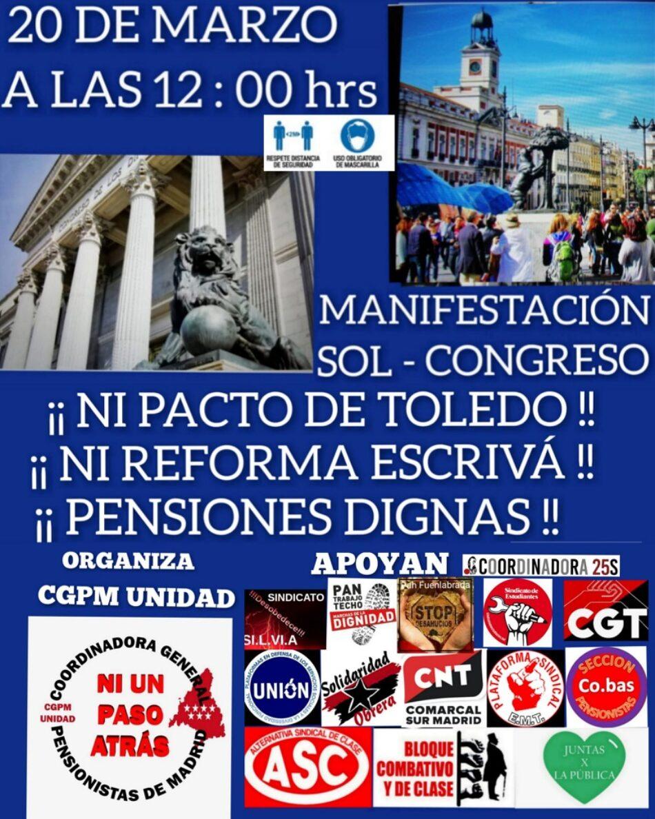 Coordinadora General de Pensionistas de Madrid convoca una manifestación en defensa del Sistema Público de Pensiones el 20 de marzo