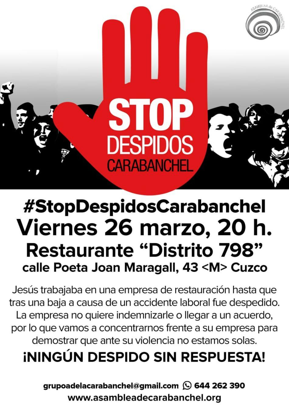 """«StopDespidos» convoca protesta frente al restaurante Distrito798, """"Restaurante Japonés fusión en Madrid"""" (Madrid)"""