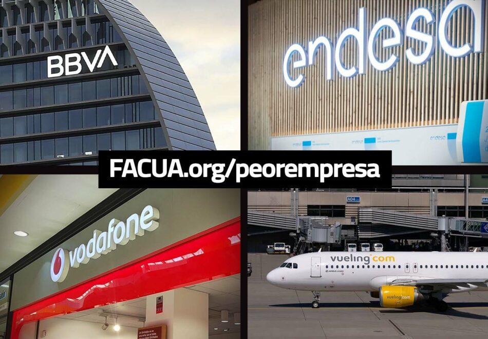 BBVA, Endesa, Vodafone y Vueling, nominadas en la 11ª edición de los premios a La Peor Empresa del Año