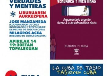 14 de Abril: presentación del libro «Cuba, verdades y mentiras» y exposición «La Cuba de Tasio» en Lezama (Bizkaia)