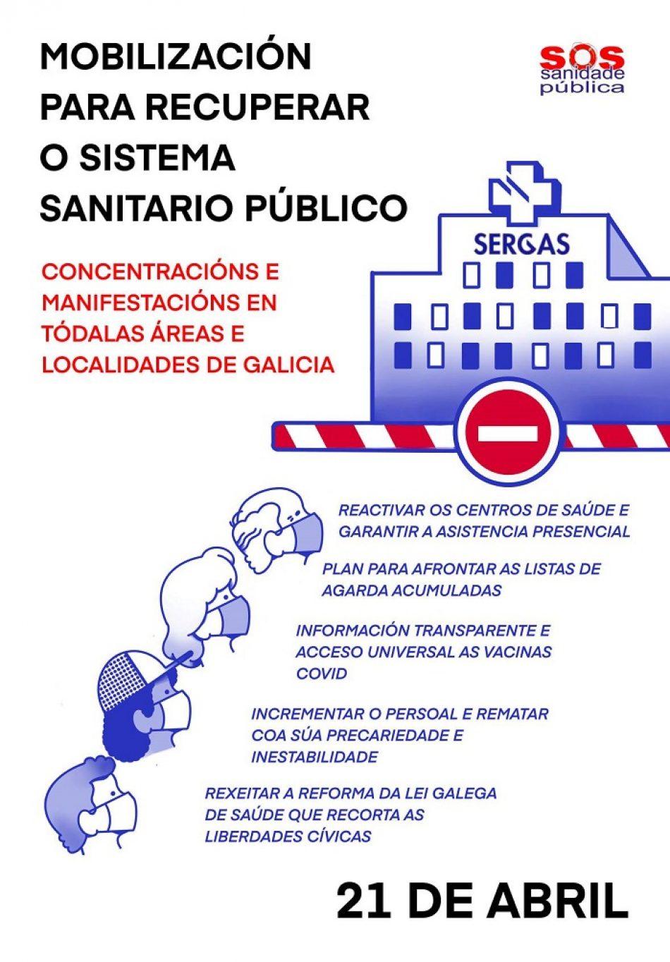 Esquerda Unida apoia as concentracións de SOS Sanidade Pública convocadas para este mércores 21 de abril
