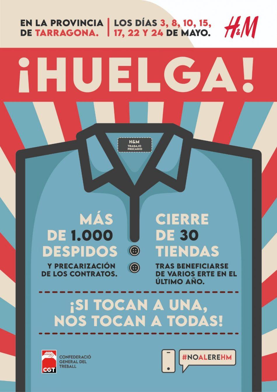 La CGT de Tarragona convoca VAGA als centres de treball de H&M a la provincia de Tarragona
