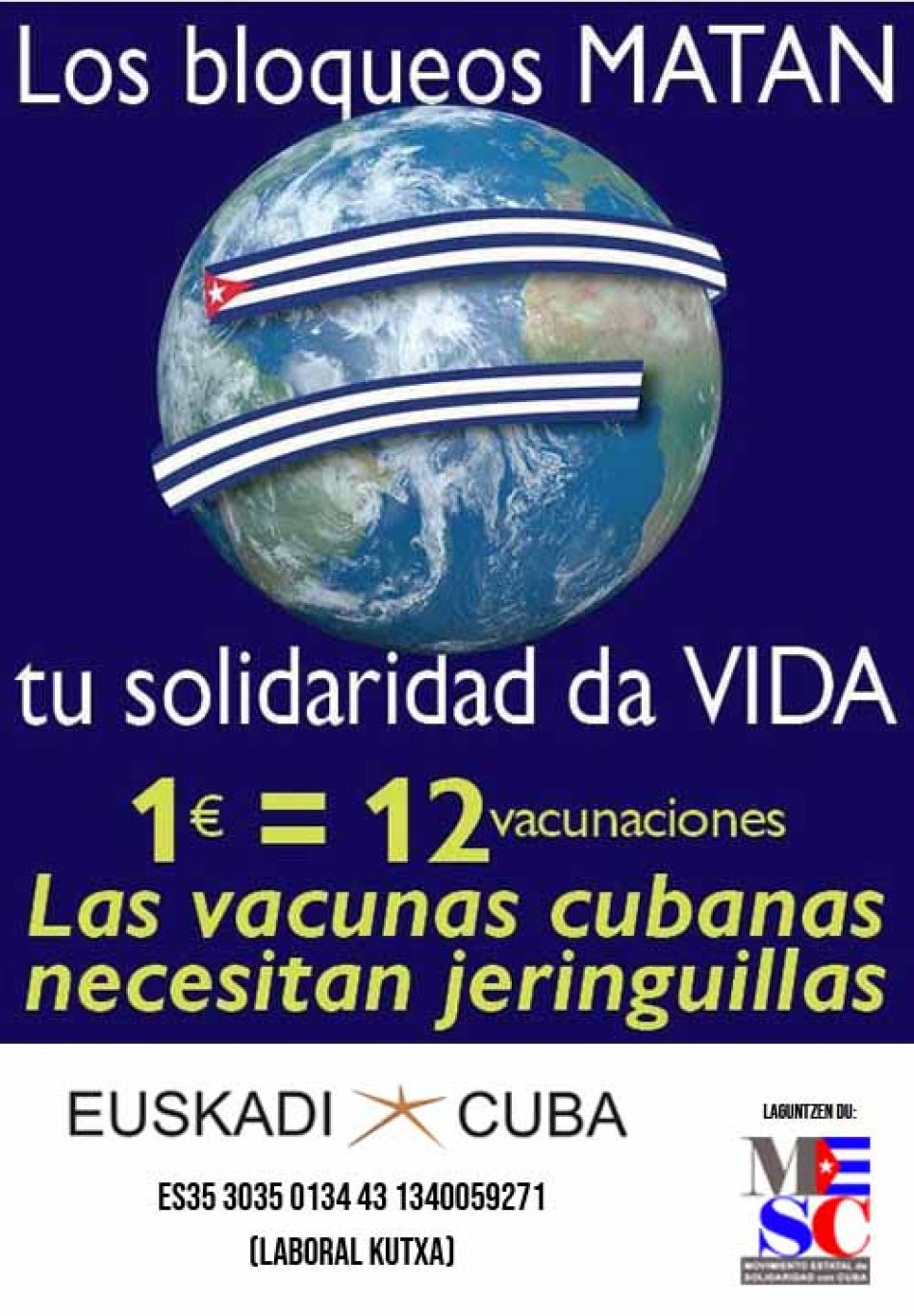 Euskadi-Cuba abre cuenta para la campaña mundial «Jeringuillas para Cuba» en apoyo a la vacunación en la Isla