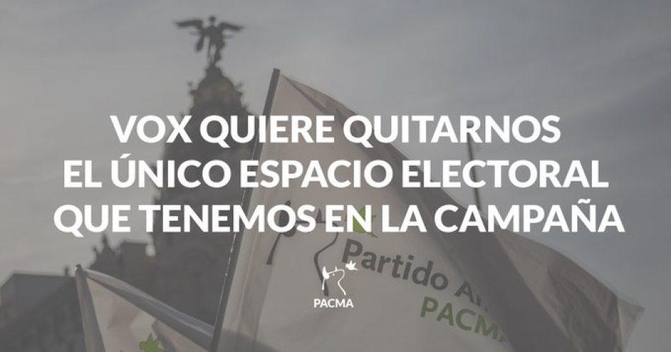 PACMA presenta alegaciones al recurso de VOX contra la adjudicación del único espacio electoral que tendrá el Partido Animalista