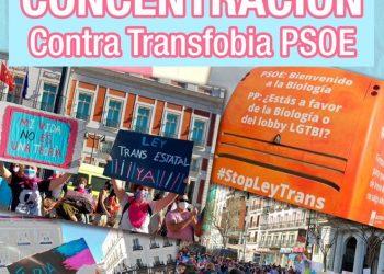 Federación Plataforma Trans, Euforia Familias Trans-Aliadas y No Binaries España convocan concentración frente a la sede del PSOE en la calle Ferraz (Madrid)