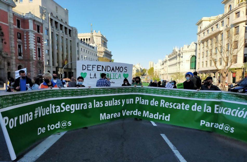 La Marea Verde recorre las calles de Madrid bajo el lema «Vacunemos la educación pública»