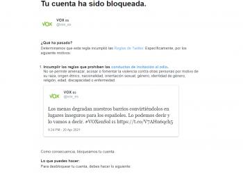 Twitter bloqueó la cuenta del partido neo-fascista Vox por incitación al odio en su propaganda contra los «MENAS»