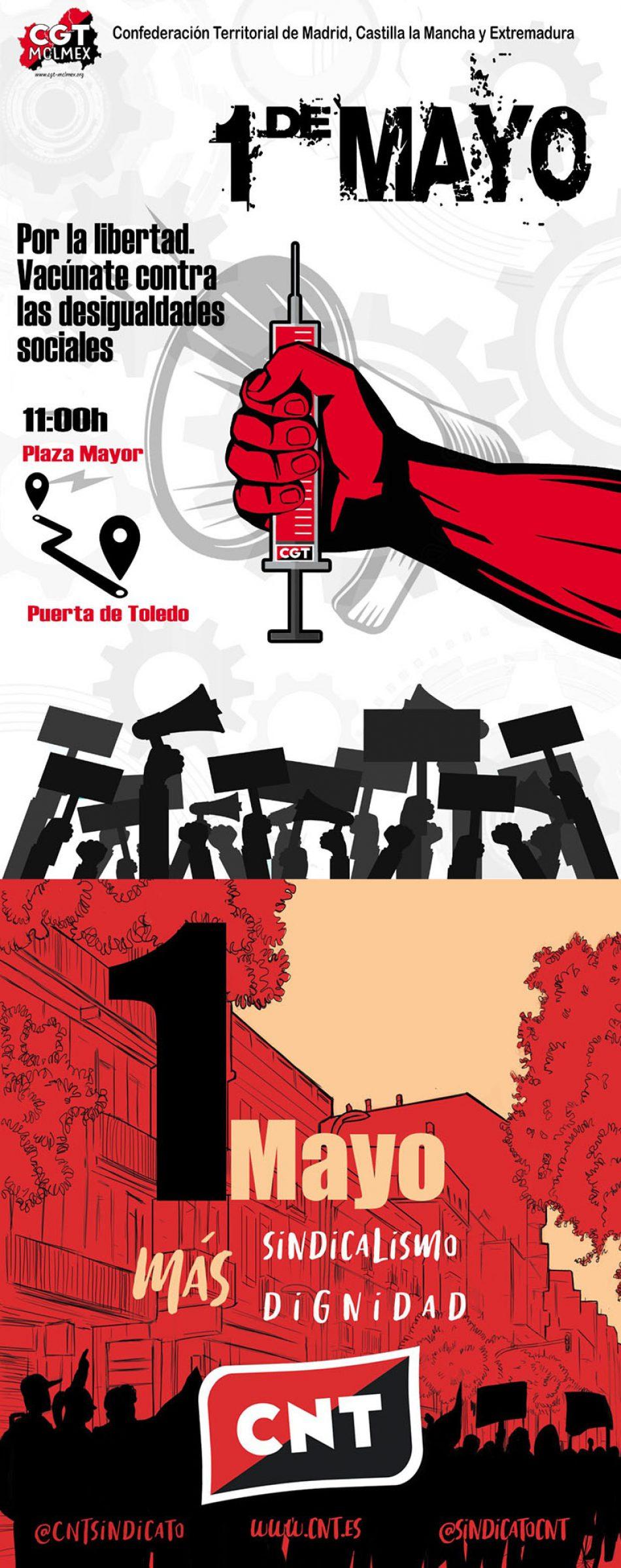 CNT y CGT vuelven a marchar juntos en Madrid el 1 de Mayo, desde la Plaza Mayor a la Puerta de Toledo