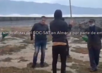 Un empresario agrícola de El Ejido agrede al portavoz del sindicato Soc-SAT y a un periodista durante una jornada informativa a los trabajadores de invernaderos