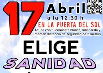 """La Marea Blanca se concentrará el sábado bajo el lema """"Elige Sanidad Pública"""" este sábado 17 de abril"""