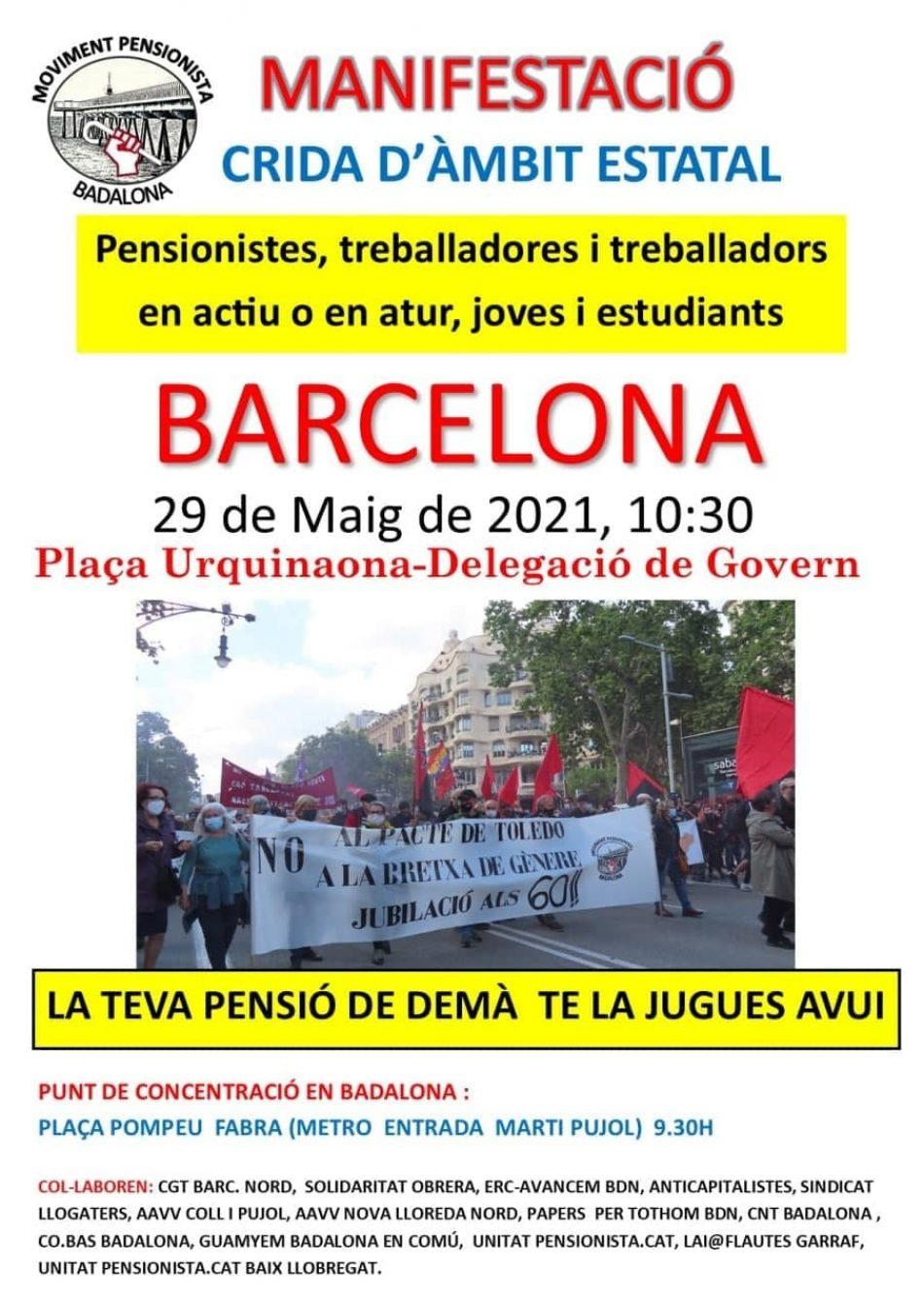 29M: «En defensa de les pensions i els dret laborals i socials, sortim als carrers»