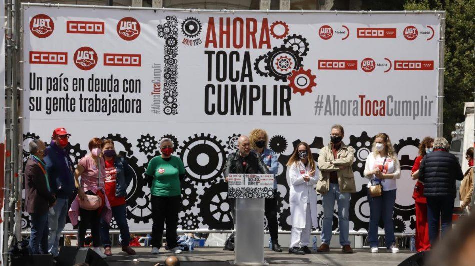 Unai Sordo reclama al Gobierno que cumpla sus compromisos y salde la deuda con la clase trabajadora, y, ante las elecciones de Madrid, pide que ningún voto trabajador vaya a la extrema derecha
