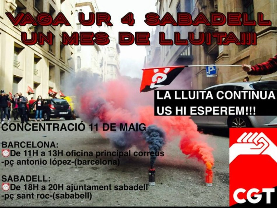 Concentraciones el 11 de mayo en Barcelona y Sabadell: 35 días de huelga indefinida en correos en la unidad de reparto nº 4 de Sabadell