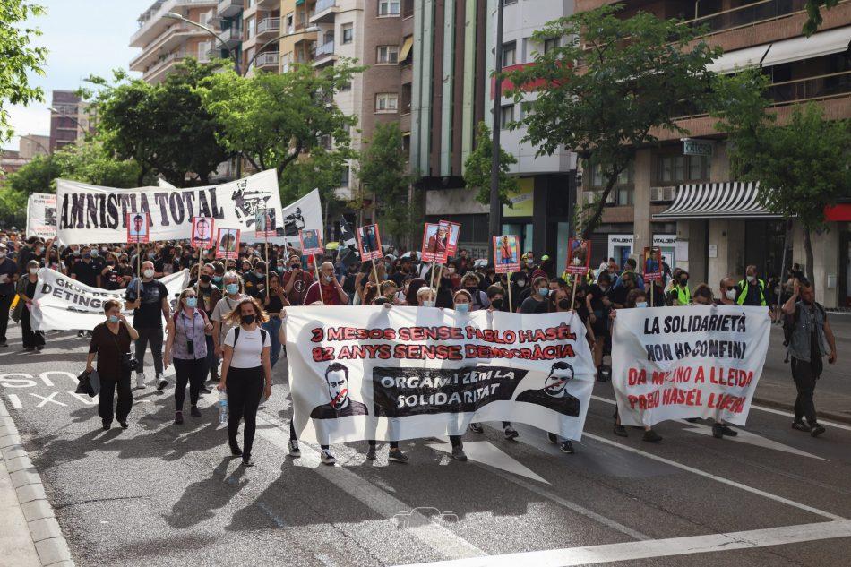 Movilización en Lleida por la liberación de Pablo Hasel